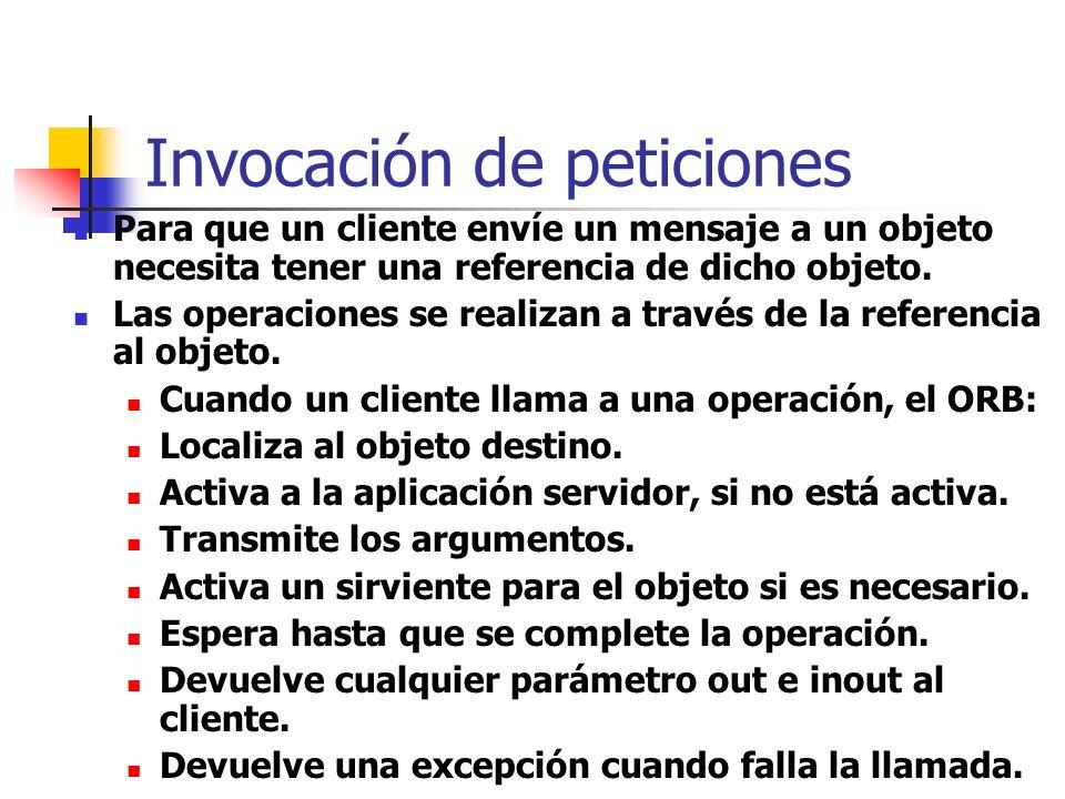 Flujo general de peticiones El cliente realiza una petición usando stubs estáticos (previamente compilados) o la Interfaz de invocación dinámica (DII)