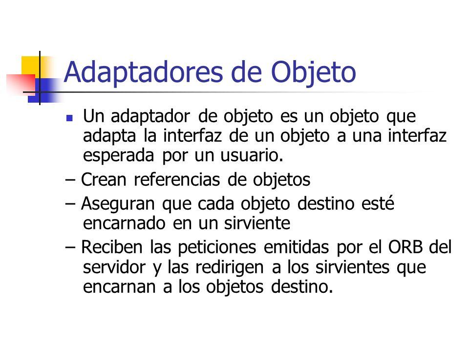 Funciones del ORB Entrega las peticiones a los objetos destino (locales o remotos) y devuelve las respuestas a los clientes que hicieron las peticione