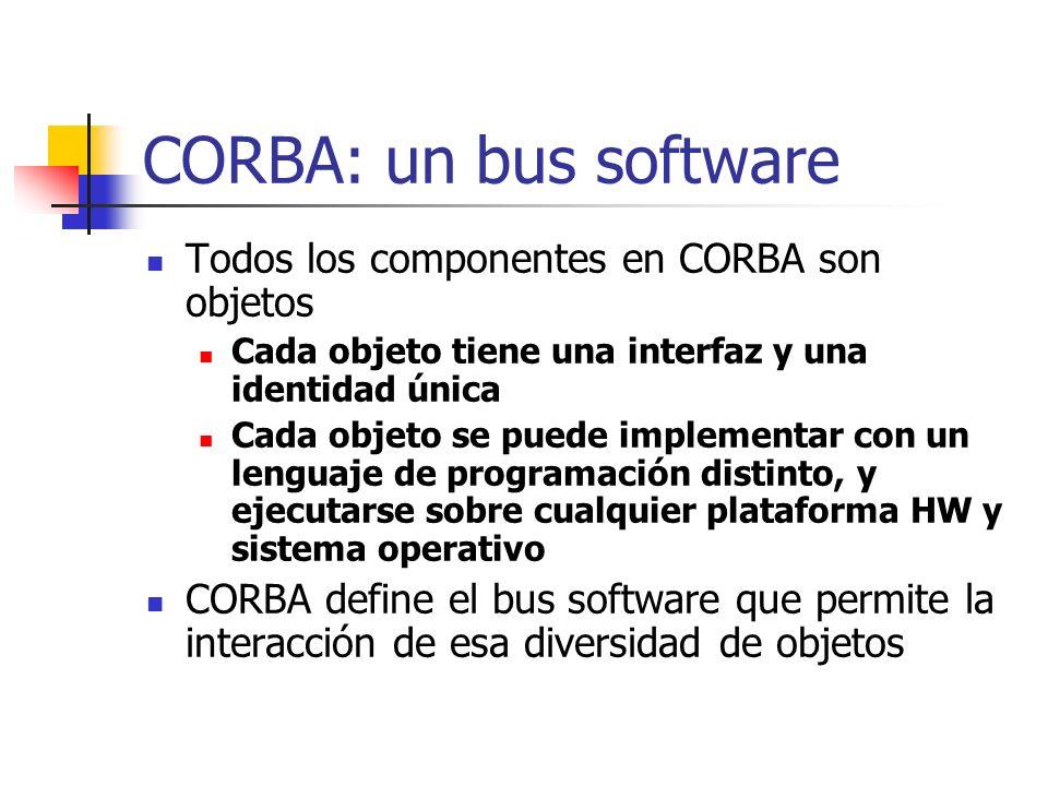 CORBA: un bus software Todos los componentes en CORBA son objetos Cada objeto tiene una interfaz y una identidad única Cada objeto se puede implementar con un lenguaje de programación distinto, y ejecutarse sobre cualquier plataforma HW y sistema operativo CORBA define el bus software que permite la interacción de esa diversidad de objetos