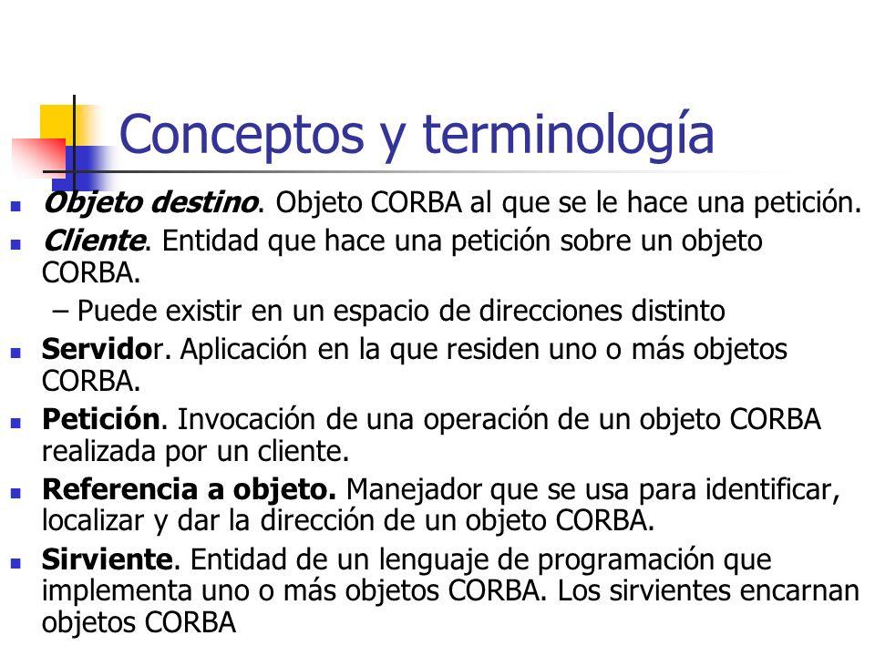 Conceptos y terminología Objeto destino.Objeto CORBA al que se le hace una petición.