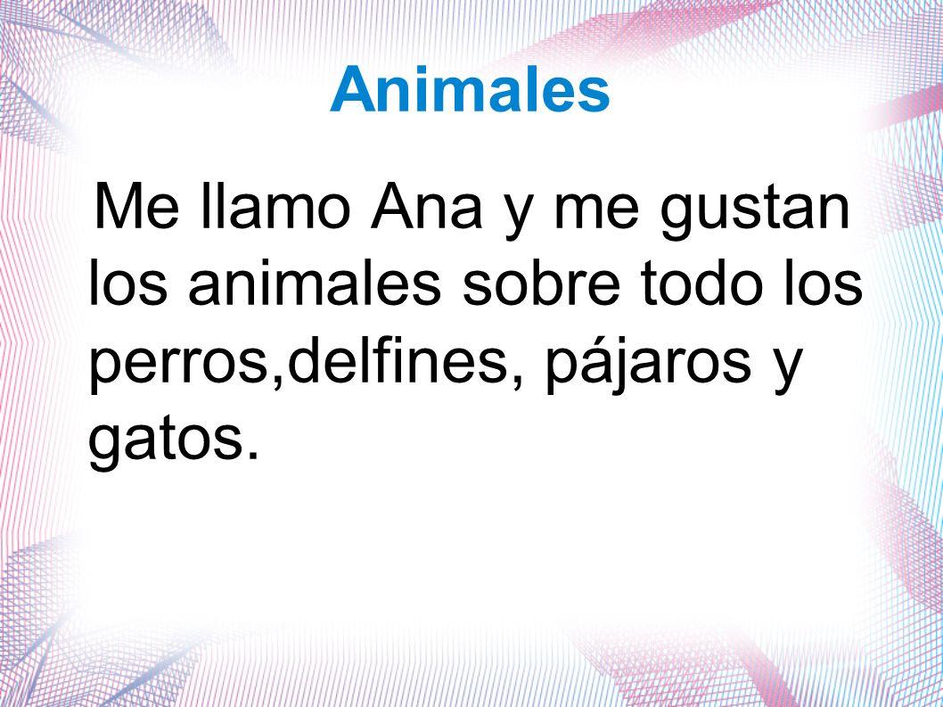 Animales Me llamo Ana y me gustan los animales sobre todo los perros,delfines, pájaros y gatos.