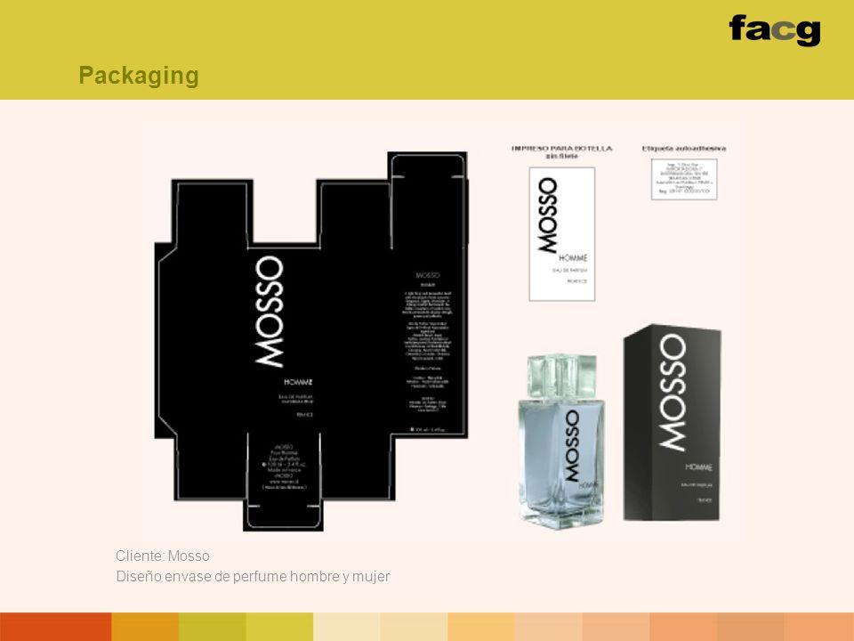 Packaging Cliente: Mosso Diseño envase de perfume hombre y mujer