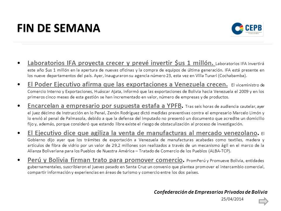 FIN DE SEMANA Laboratorios IFA proyecta crecer y prevé invertir $us 1 millón.