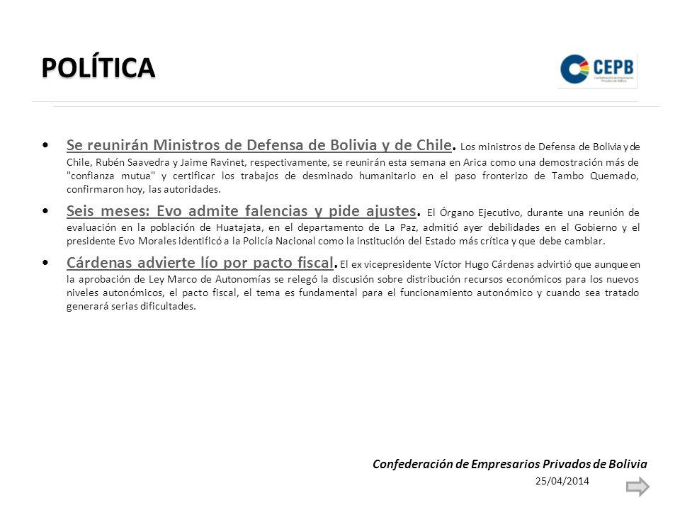 POLÍTICA Se reunirán Ministros de Defensa de Bolivia y de Chile.