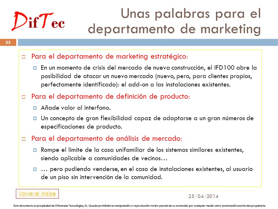 Unas palabras para el departamento de marketing 25/04/2014 22