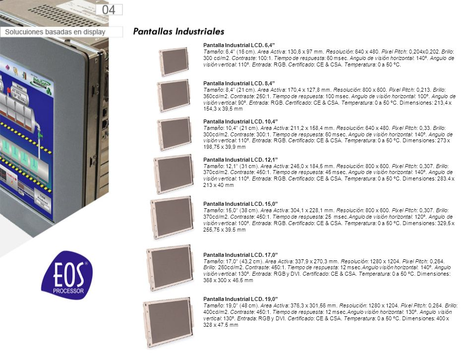 Pantalla Industrial LCD.6,4 Tamaño: 6,4 (16 cm). Area Activa: 130,6 x 97 mm.