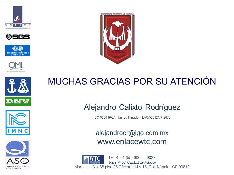MUCHAS GRACIAS POR SU ATENCIÓN Alejandro Calixto Rodríguez ISO 9000 IRCA, United Kingdom LAC/550121/P/2670 alejandrocr@igo.com.mx www.enlacewtc.com TE