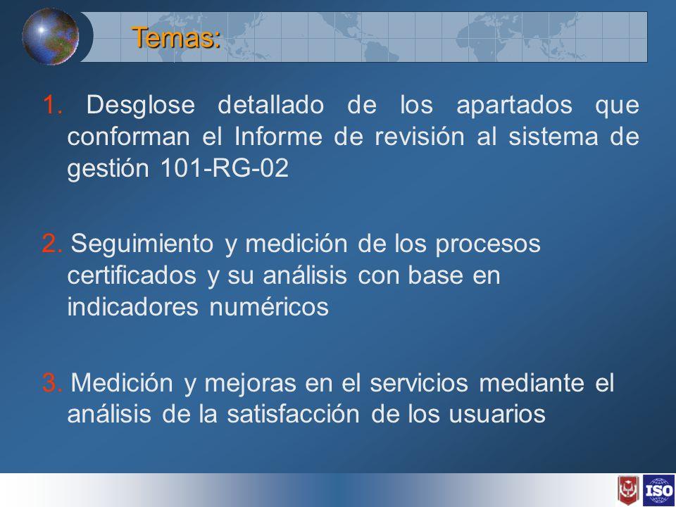 1. Desglose detallado de los apartados que conforman el Informe de revisión al sistema de gestión 101-RG-02 2. Seguimiento y medición de los procesos