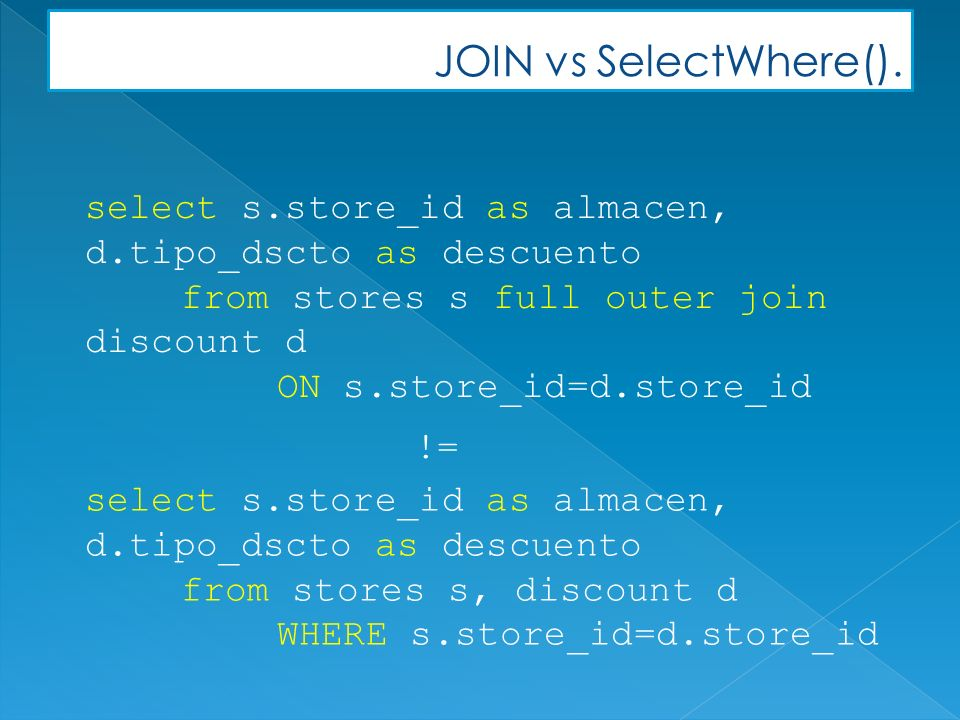 JOIN vs SelectWhere().