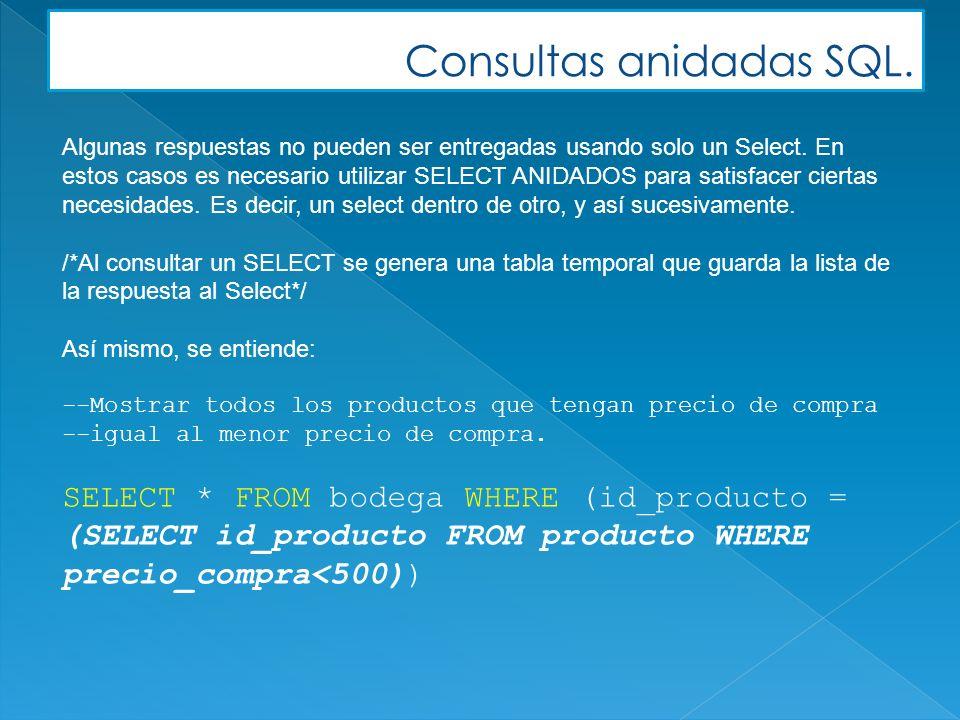 Consultas anidadas SQL. Algunas respuestas no pueden ser entregadas usando solo un Select. En estos casos es necesario utilizar SELECT ANIDADOS para s