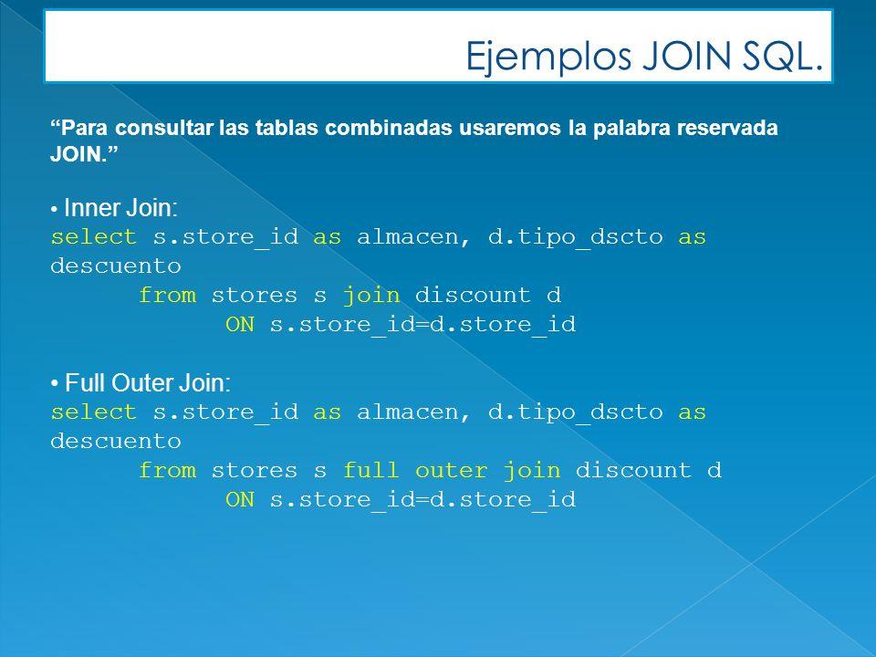 Ejemplos JOIN SQL. Para consultar las tablas combinadas usaremos la palabra reservada JOIN.