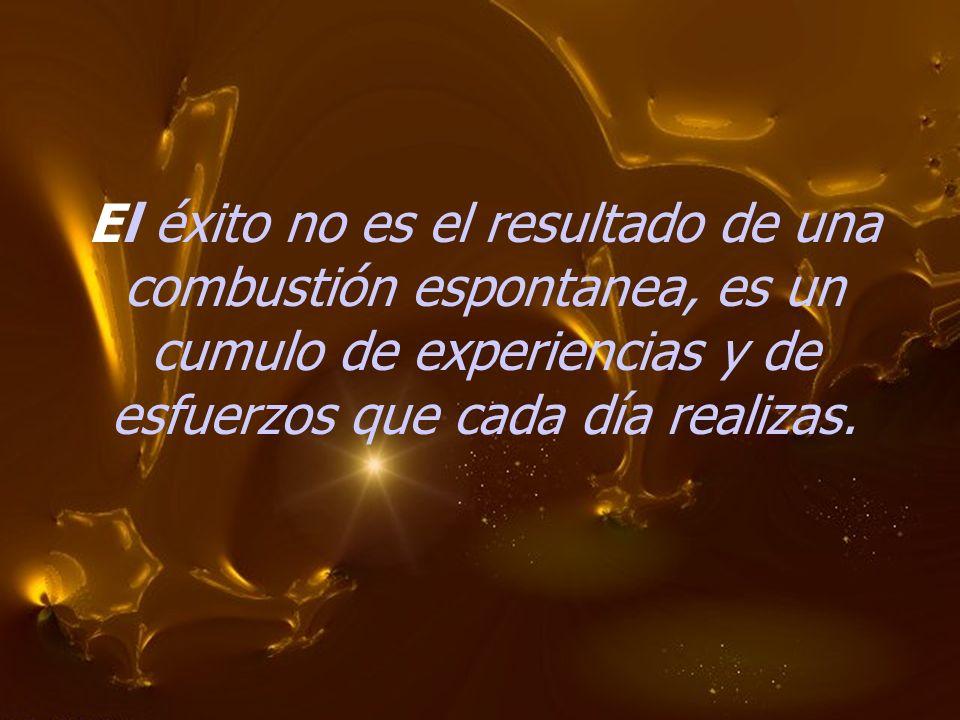 El éxito no es el resultado de una combustión espontanea, es un cumulo de experiencias y de esfuerzos que cada día realizas.
