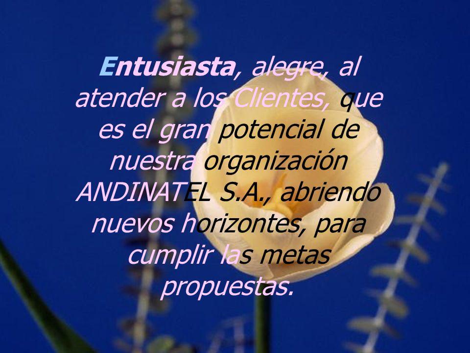 Entusiasta, alegre, al atender a los Clientes, que es el gran potencial de nuestra organización ANDINATEL S.A., abriendo nuevos horizontes, para cumpl