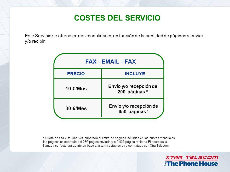 COSTES DEL SERVICIO FAX - EMAIL - FAX PRECIOINCLUYE 10 /Mes 30 /Mes Envío y/o recepción de 200 páginas * Envío y/o recepción de 650 páginas * * Cuota