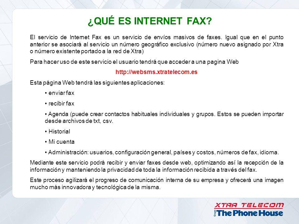 ¿QUÉ ES INTERNET FAX? El servicio de Internet Fax es un servicio de envíos masivos de faxes. Igual que en el punto anterior se asociará al servicio un