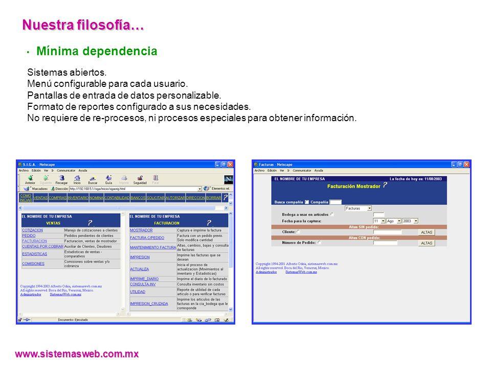 Mínima dependencia Sistemas abiertos.Menú configurable para cada usuario.