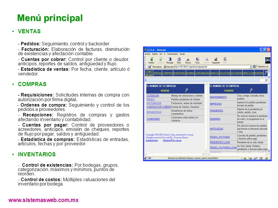 Menú principal VENTAS - Pedidos: Seguimiento, control y backorder.