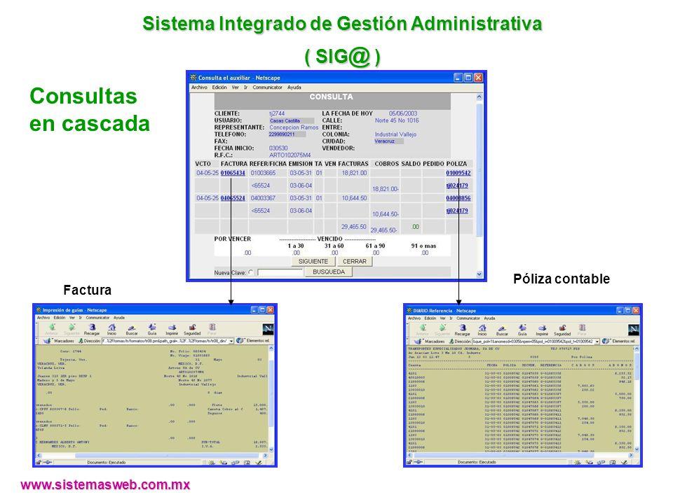 Consultas en cascada Factura Póliza contable www.sistemasweb.com.mx Sistema Integrado de Gestión Administrativa ( SIG @ )