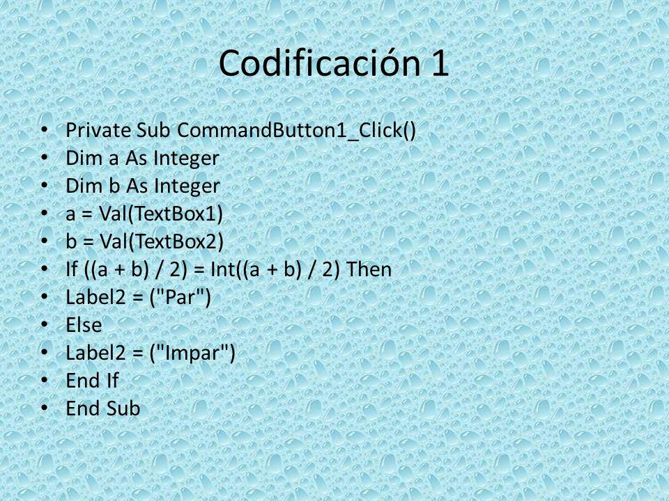 Codificación 8 Private Sub CommandButton1_Click() Dim a As Integer a = Val(TextBox1) If a = 0 Then Label2 = incorrecto-no ingresar ceros Else If a < 0 Then Label2 = incorrecto-no ingresar nº negativos Else If a > 0 Then Label2 = correcto-ingresó un nº positivo End If End Sub