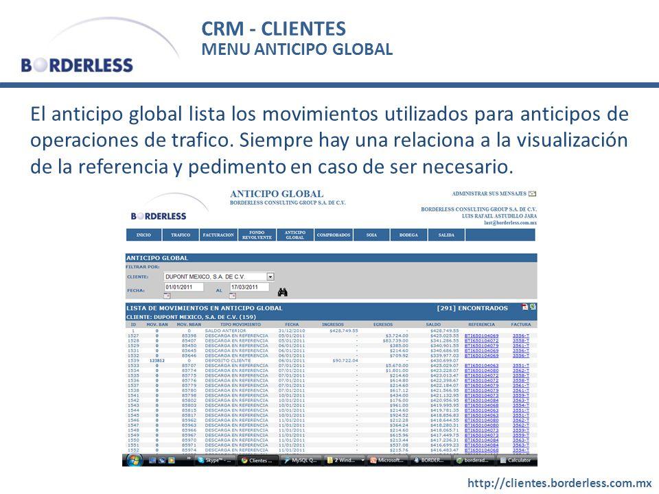 CRM - CLIENTES http://clientes.borderless.com.mx MENU ANTICIPO GLOBAL El anticipo global lista los movimientos utilizados para anticipos de operaciones de trafico.