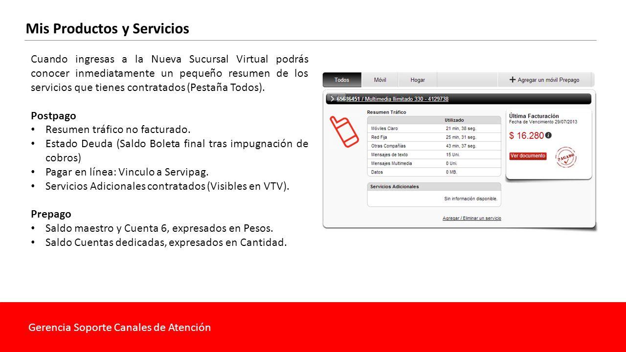 Gerencia Soporte Canales de Atención Mis Productos y Servicios Cuenta Exacta Saldo maestro y Cuenta 6, expresados en Pesos.