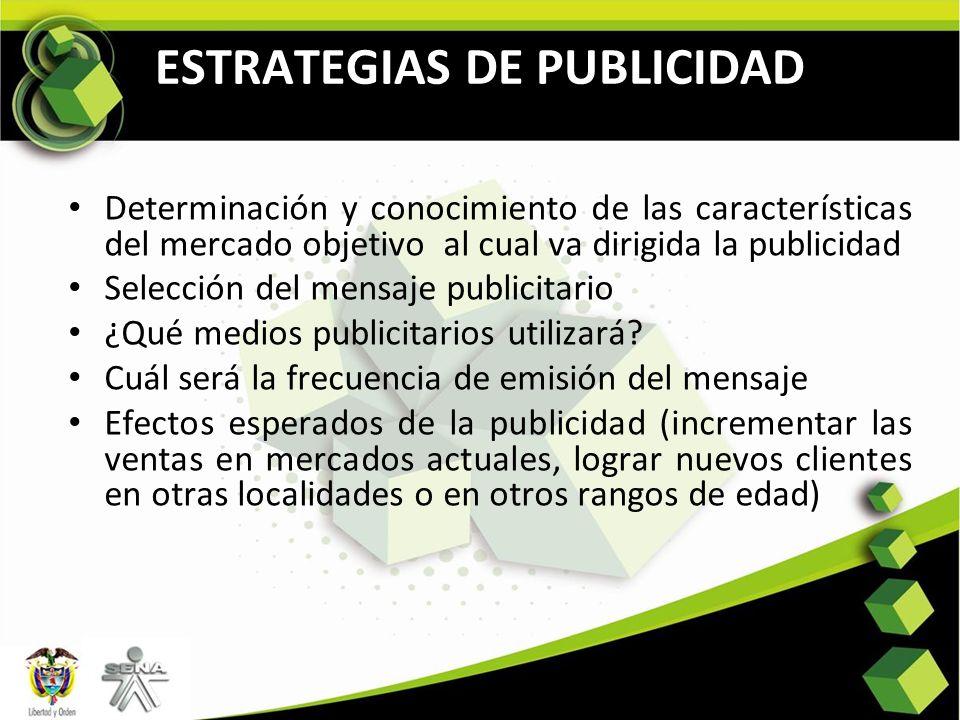 ESTRATEGIAS DE PUBLICIDAD Determinación y conocimiento de las características del mercado objetivo al cual va dirigida la publicidad Selección del men