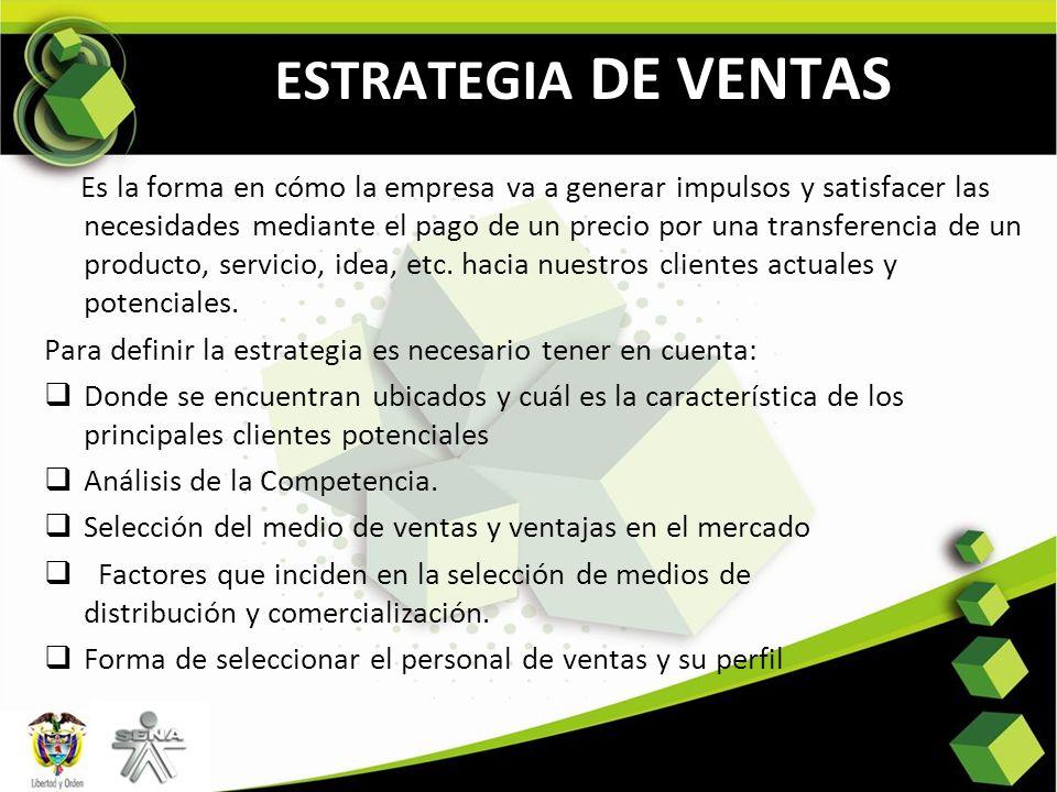 ESTRATEGIA DE VENTAS Es la forma en cómo la empresa va a generar impulsos y satisfacer las necesidades mediante el pago de un precio por una transfere