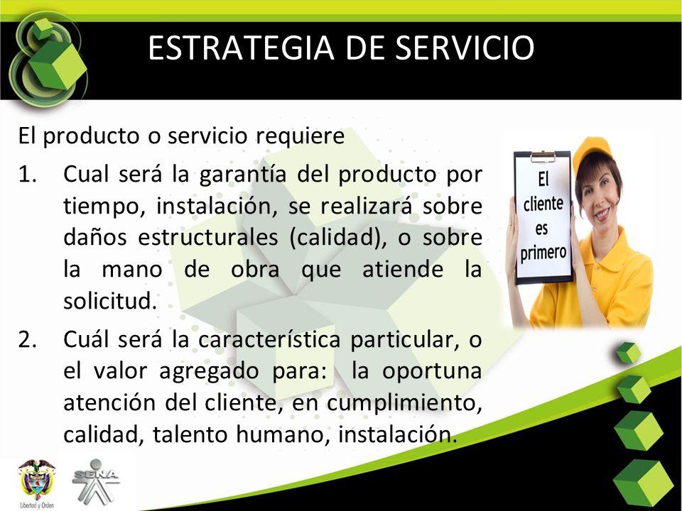 ESTRATEGIA DE SERVICIO El producto o servicio requiere 1.Cual será la garantía del producto por tiempo, instalación, se realizará sobre daños estructu