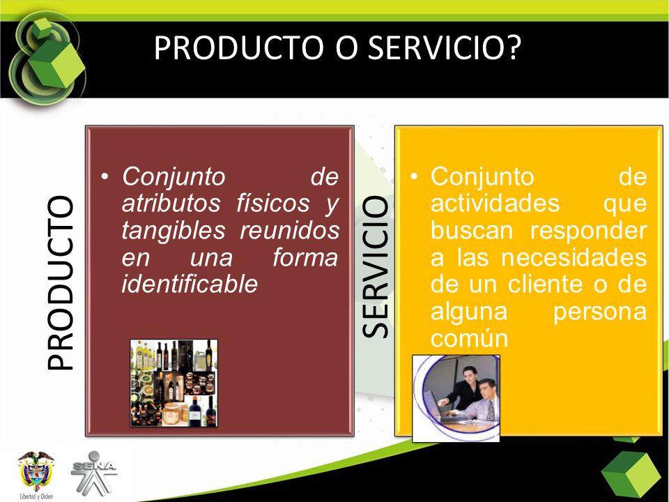 PRODUCTO Conjunto de atributos físicos y tangibles reunidos en una forma identificable SERVICIO Conjunto de actividades que buscan responder a las nec