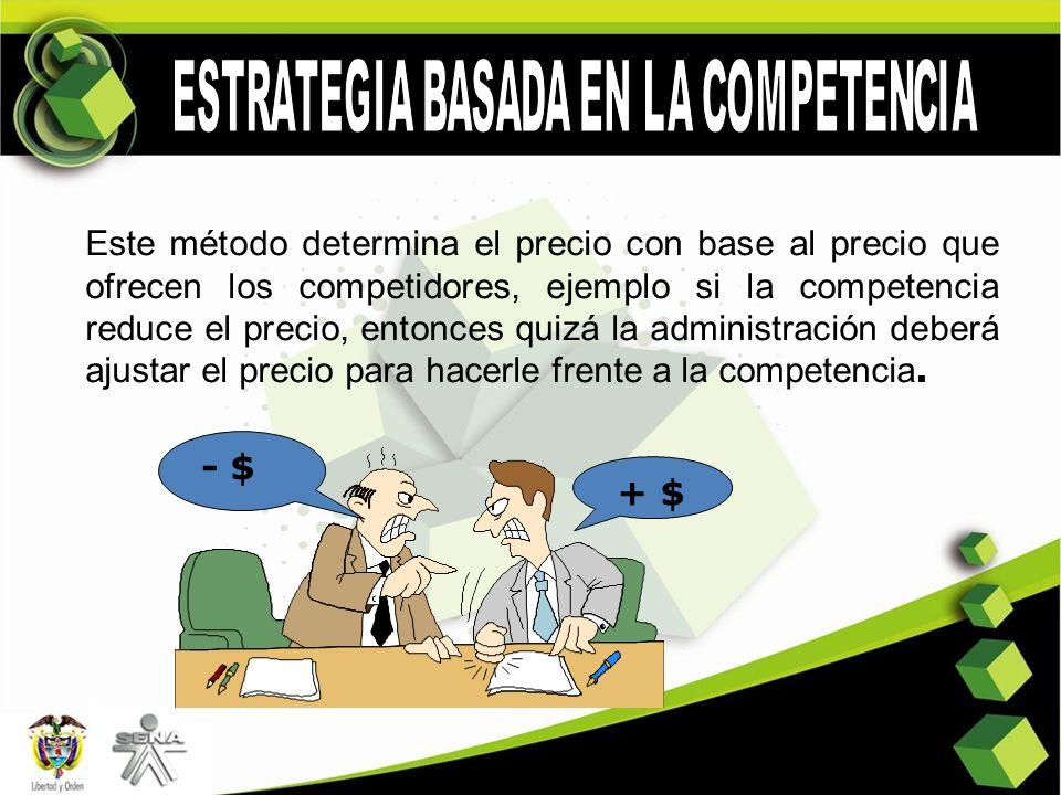 Este método determina el precio con base al precio que ofrecen los competidores, ejemplo si la competencia reduce el precio, entonces quizá la adminis