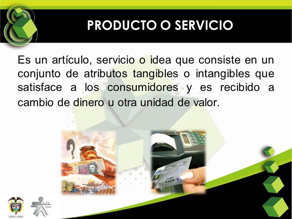 PRODUCTO O SERVICIO Es un artículo, servicio o idea que consiste en un conjunto de atributos tangibles o intangibles que satisface a los consumidores