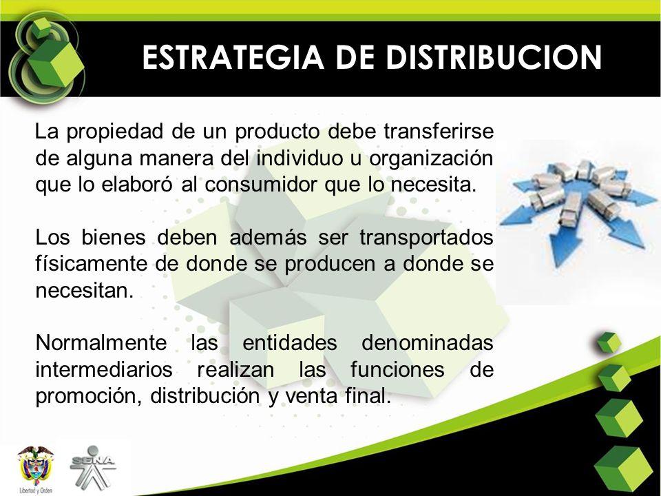 ESTRATEGIA DE DISTRIBUCION La propiedad de un producto debe transferirse de alguna manera del individuo u organización que lo elaboró al consumidor qu