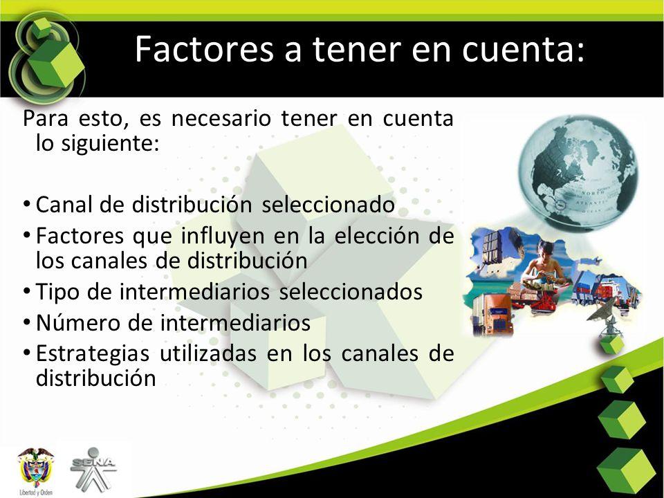 Factores a tener en cuenta: Para esto, es necesario tener en cuenta lo siguiente: Canal de distribución seleccionado Factores que influyen en la elecc