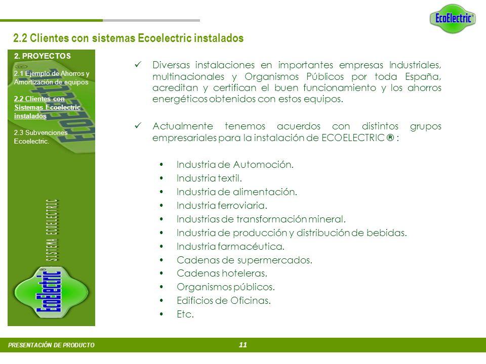 10 PRESENTACIÓN DE PRODUCTO 2. PROYECTOS 2.1 Ejemplo de Ahorros y Amortización de equipos 2.2 Clientes con Sistemas Ecoelectric instalados 2.3 Subvenc