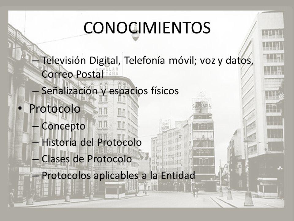 CONOCIMIENTOS – Televisión Digital, Telefonía móvil; voz y datos, Correo Postal – Señalización y espacios físicos Protocolo – Concepto – Historia del