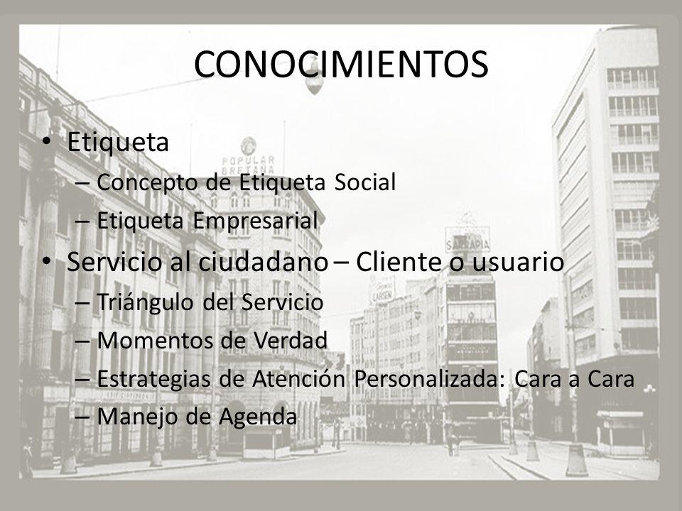 CONOCIMIENTOS Etiqueta – Concepto de Etiqueta Social – Etiqueta Empresarial Servicio al ciudadano – Cliente o usuario – Triángulo del Servicio – Momen