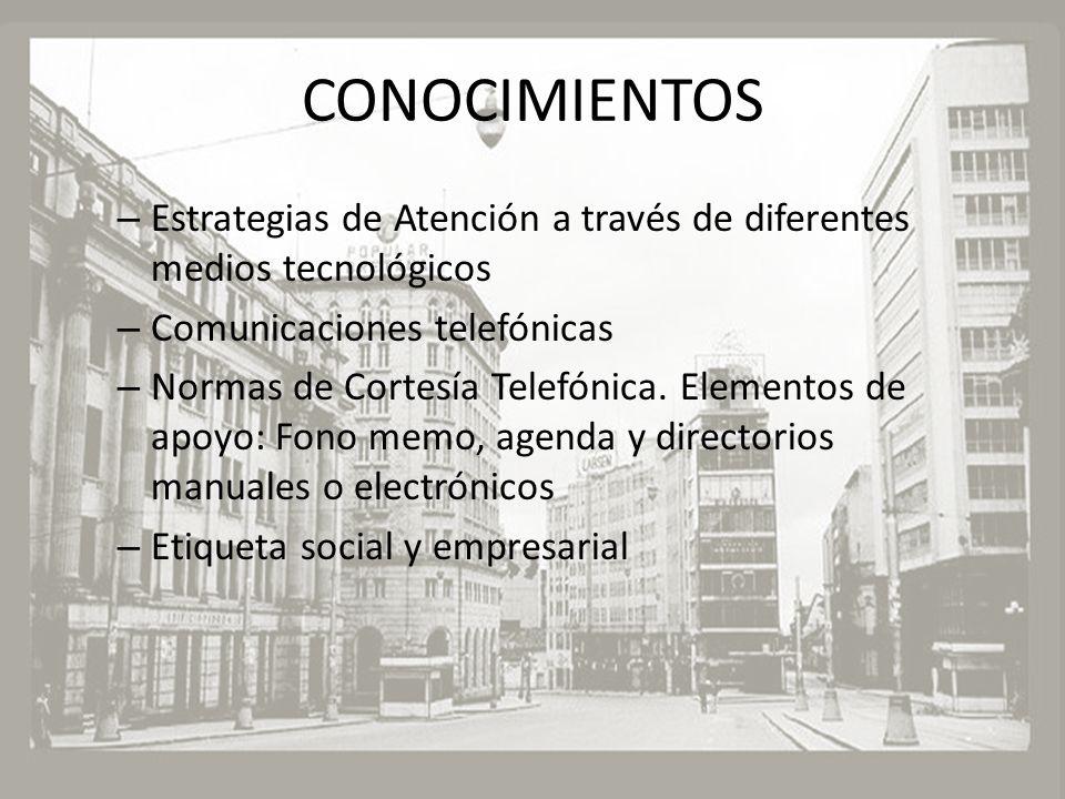 CONOCIMIENTOS – Estrategias de Atención a través de diferentes medios tecnológicos – Comunicaciones telefónicas – Normas de Cortesía Telefónica. Eleme
