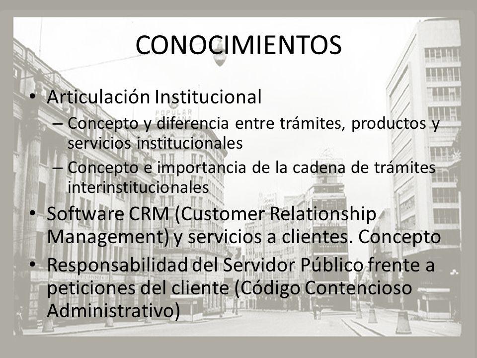 CONOCIMIENTOS Articulación Institucional – Concepto y diferencia entre trámites, productos y servicios institucionales – Concepto e importancia de la