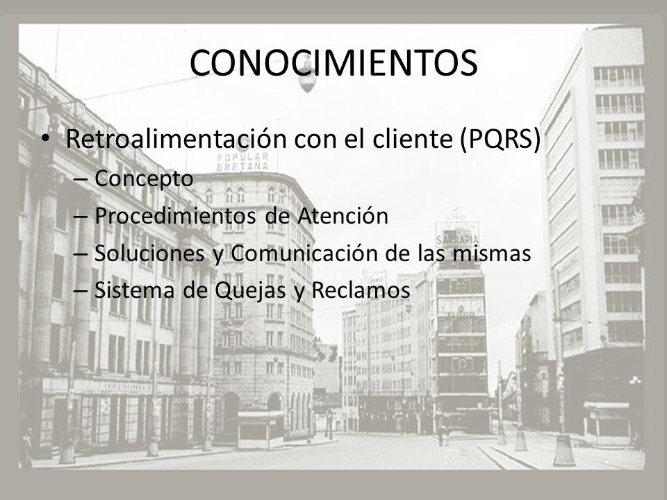 CONOCIMIENTOS Retroalimentación con el cliente (PQRS) – Concepto – Procedimientos de Atención – Soluciones y Comunicación de las mismas – Sistema de Q