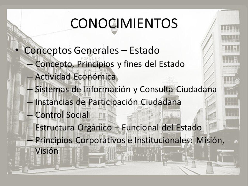 CONOCIMIENTOS Conceptos Generales – Estado – Concepto, Principios y fines del Estado – Actividad Económica – Sistemas de Información y Consulta Ciudad