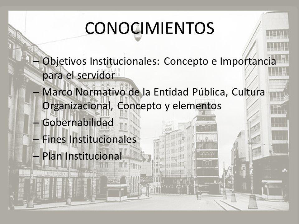 CONOCIMIENTOS – Objetivos Institucionales: Concepto e Importancia para el servidor – Marco Normativo de la Entidad Pública, Cultura Organizacional, Co