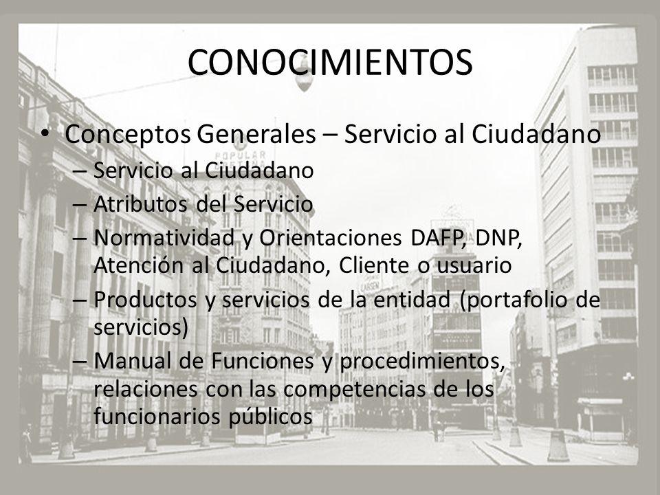 CONOCIMIENTOS Conceptos Generales – Servicio al Ciudadano – Servicio al Ciudadano – Atributos del Servicio – Normatividad y Orientaciones DAFP, DNP, A