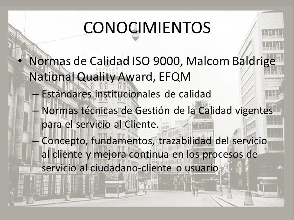 CONOCIMIENTOS Normas de Calidad ISO 9000, Malcom Baldrige National Quality Award, EFQM – Estándares institucionales de calidad – Normas técnicas de Ge