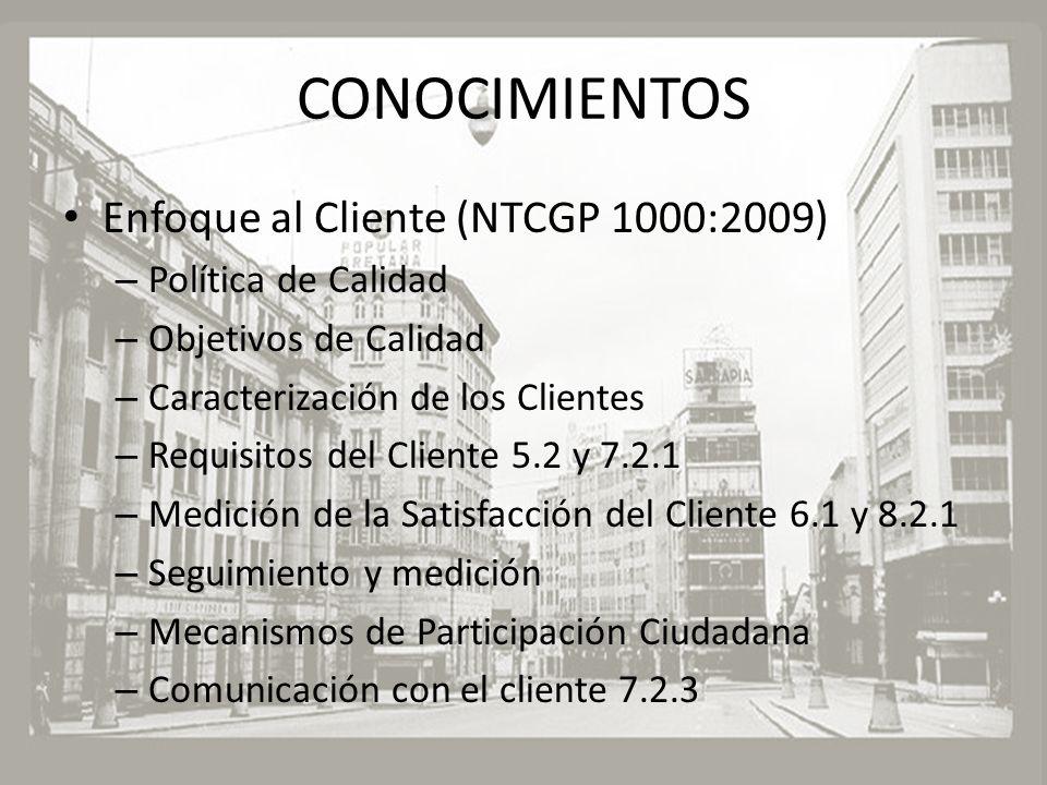 CONOCIMIENTOS Enfoque al Cliente (NTCGP 1000:2009) – Política de Calidad – Objetivos de Calidad – Caracterización de los Clientes – Requisitos del Cli