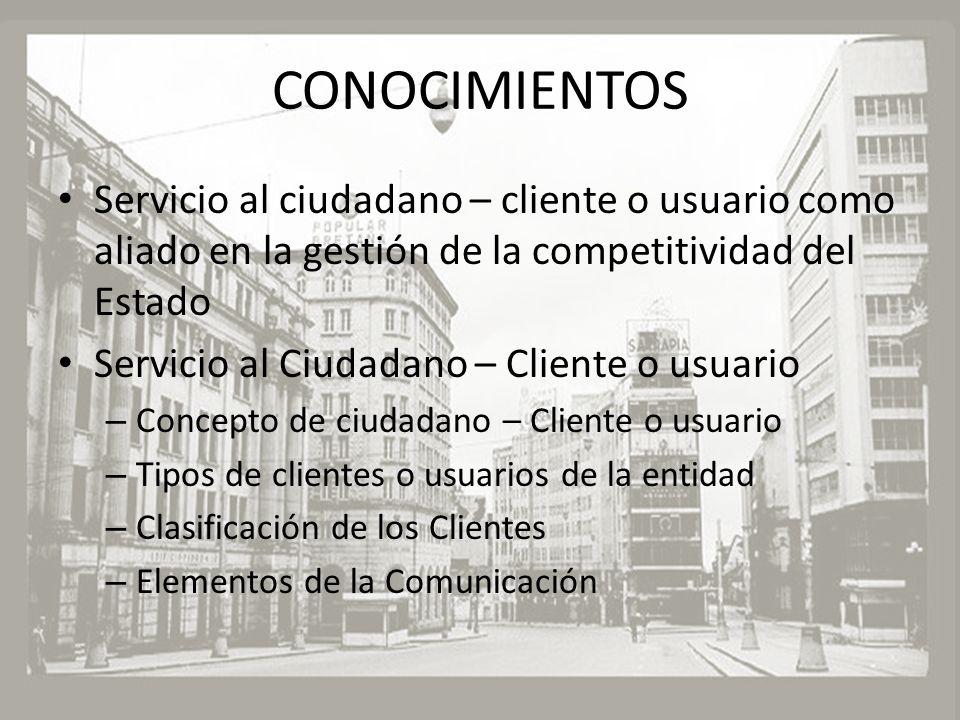 CONOCIMIENTOS Servicio al ciudadano – cliente o usuario como aliado en la gestión de la competitividad del Estado Servicio al Ciudadano – Cliente o us