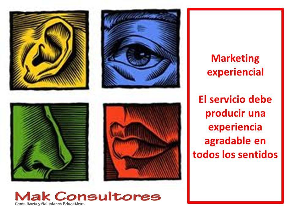 Marketing experiencial El servicio debe producir una experiencia agradable en todos los sentidos