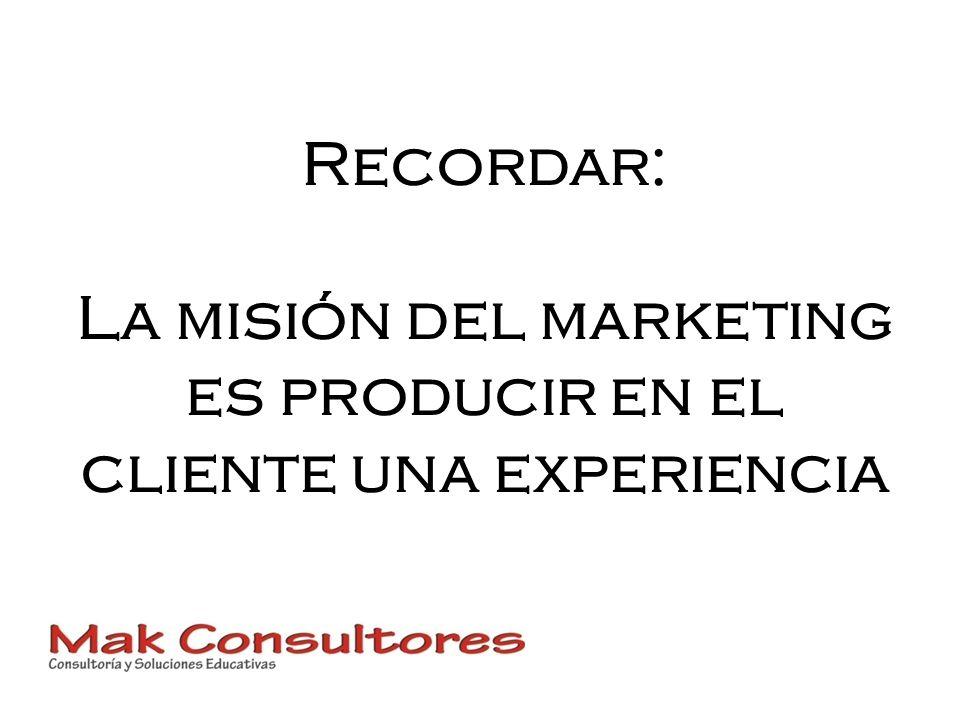Recordar: La misión del marketing es producir en el cliente una experiencia