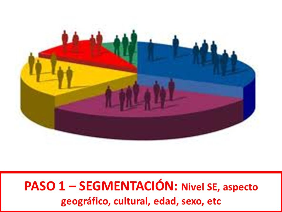 PASO 1 – SEGMENTACIÓN: Nivel SE, aspecto geográfico, cultural, edad, sexo, etc
