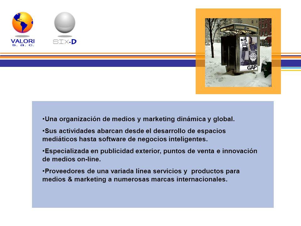 Una organización de medios y marketing dinámica y global. Sus actividades abarcan desde el desarrollo de espacios mediáticos hasta software de negocio