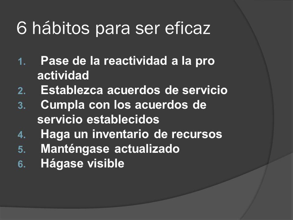 6 hábitos para ser eficaz 1. Pase de la reactividad a la pro actividad 2. Establezca acuerdos de servicio 3. Cumpla con los acuerdos de servicio estab